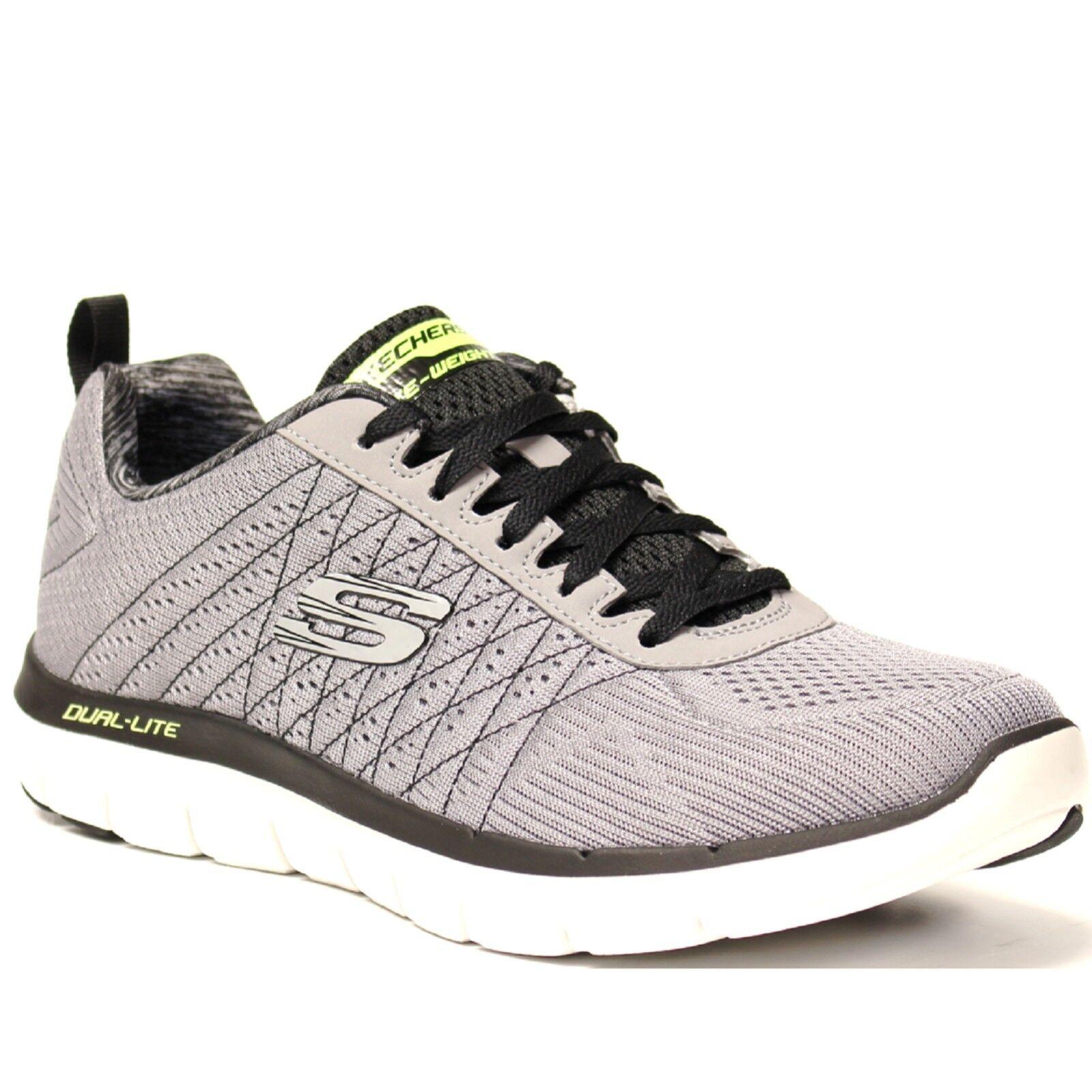 Men Skechers FLEX ADVANTAGE 2.0 52185LGBK Grey Black Lace Up Sneaker Shoes