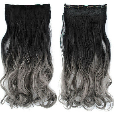 Dyed Black+Gray 23.6'' Long Full One Piece Wave Curly Clip In Hair Extension