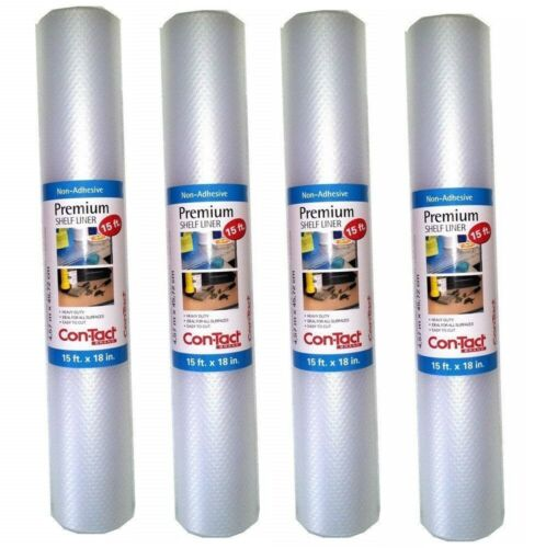 Pack 4 Con-Tact Premium Non-adhesive Heavy Duty Shelf Liner 60 Feet Total
