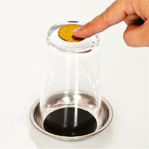 Coin-Thru-Into-Glass-Cup-Tray-Close-Up-Easy-Amazing-Gimmick-Magic-Trick-Tools