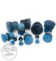 Blue Agate Single Flare Stone Plugs - Sizes / Gauges (8g - 5/8)
