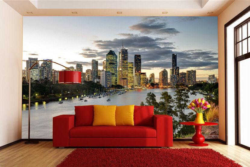 3D Lac Ville 465 Photo Papier Peint en Autocollant Murale Plafond Chambre Art