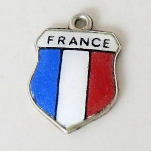 FRANCE-Vintage-Silver-Enamel-Travel-Shield-Charm-RARE