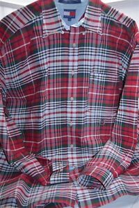 d8d8b486 Tommy Hilfiger Red Green Blue White Plaid Large Long Sleeve Button ...