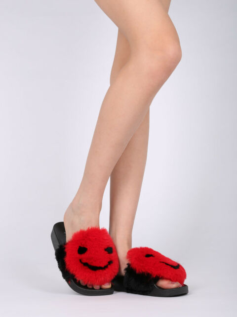 New Women Faux Fur Happy Face Open Toe Footbed Slide - 17856 By Qupid Collection