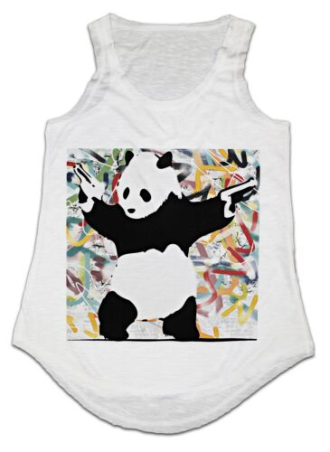 Banksy Panda Gun Fashion Cool Débardeur Femme Tank Top Taille Unique Idéal Cadeau