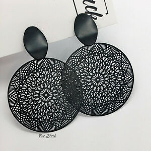 Black Lace Boho Hoop Round Drop Clip On Earrings Blogger UK Seller Dreamcatcher