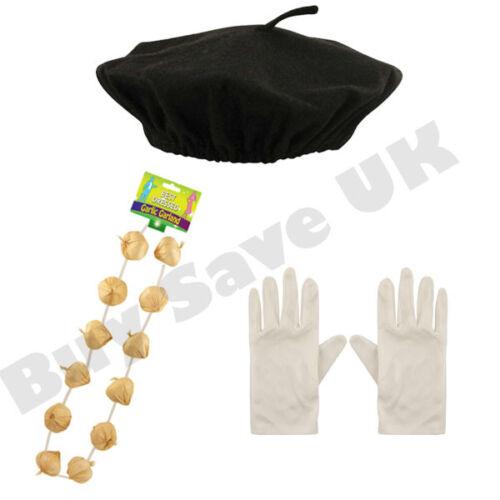Enfants béret chapeau gants /& Garland French Garçons Filles Fancy Dress Costume