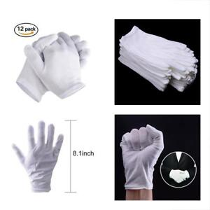 Details About White Cotton Gloves For Dry Hands Medium Size Eczema Men Women Thin 6 Pairs New