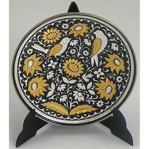 Damascene-Gold-amp-Silver-Round-Miniature-Decorative-Plate-by-Midas-Toledo-Spain