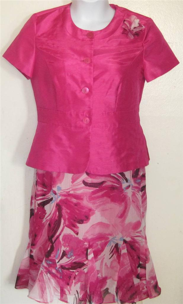 Danny & Nicole misses sz 8 pretty pink floral skirt & top lot set outfit n