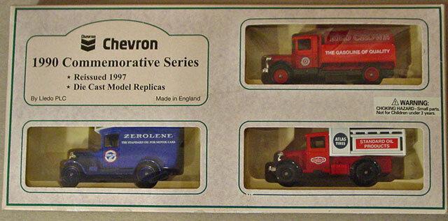 LLEDO STANDARD OIL CHEVRON 1990 COMMEMORATIVE SERIES & WALNUT SHELF NEW IN BOX