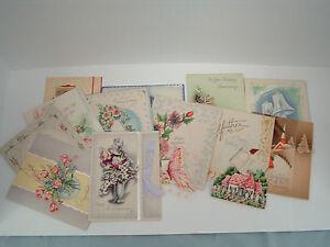 Vintage-unused-14-greeting-card-lot-Anniversary-congratulations-paper-ephemera