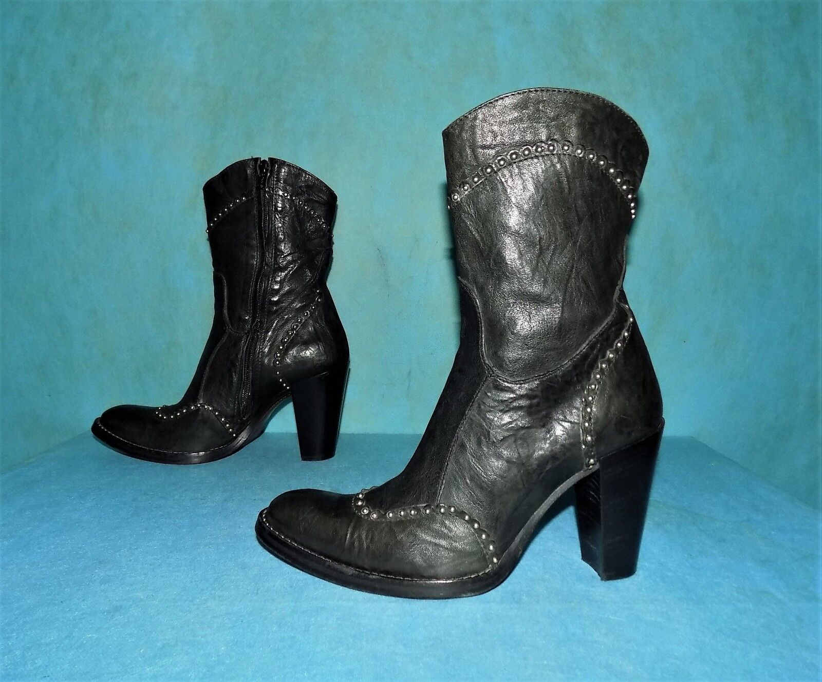Boots booties FUGA all leather leather leather black p 37 fr super condition 8957b9