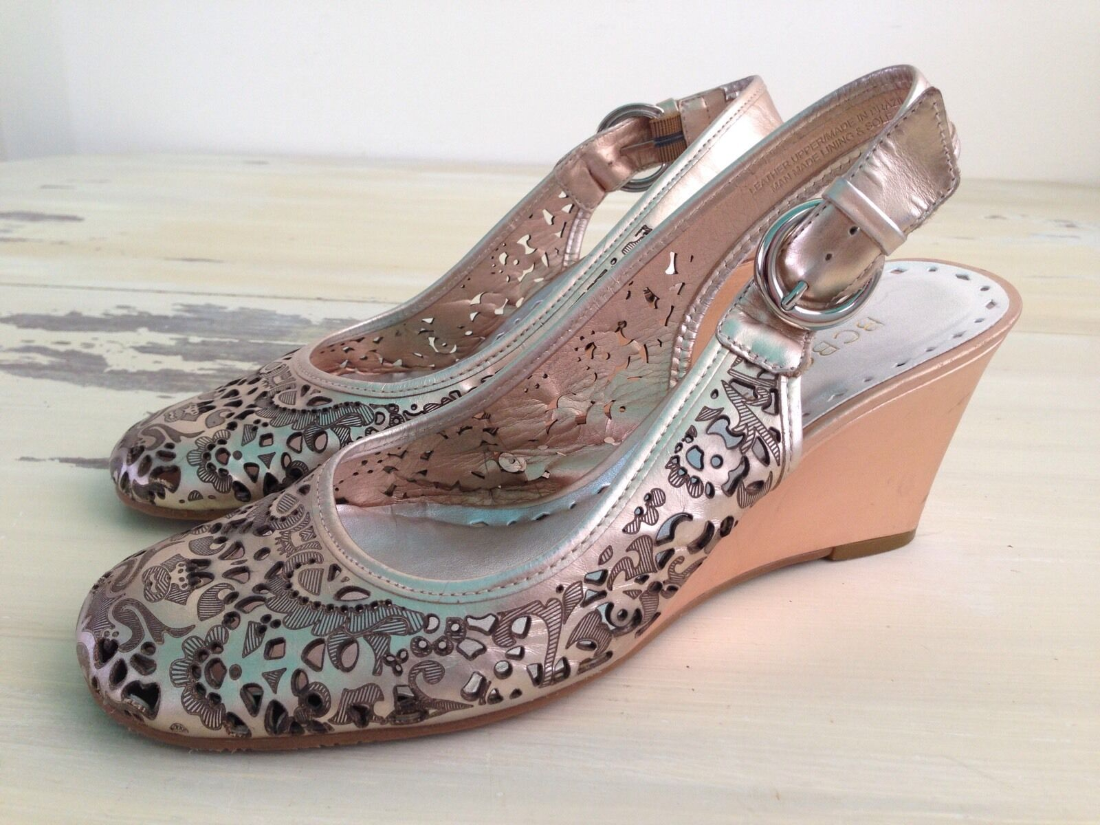 BCBGirls - Wedge Womens Copper Metallic Leather Wedge - Strapped Heel Sandals, 7B 7 B f4ea93