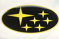SUBARU BONNET BADGE STICKER BLACK & YELLOW STARS DOMED PLASTIC NEW AGE 2001-07
