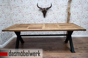massivholz tisch esstisch 230cm holz metall industrie design shabby ebay. Black Bedroom Furniture Sets. Home Design Ideas