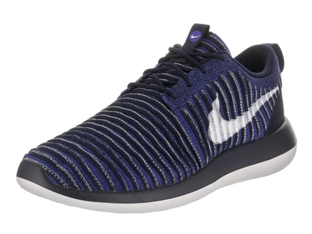 d24fa3a3aaeb3 Nike Roshe Two Flyknit Mens 844833-402 Navy Blue White Running Shoes Size 9