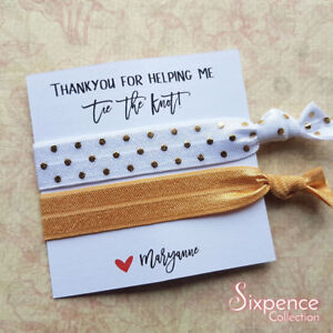 Details about Thank You For Helping Me Tie the Knot Personalised Hair Ties d3946123d87