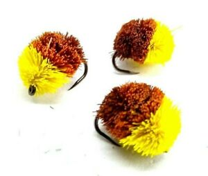 bread flake 10s 3,4 or 6 Carp fly Fishing fly YELLOW /& BLACK BISCUIT Deer hair