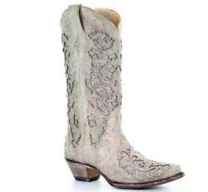 Womens-Western-Cowboy-Mid-Calf-Rhinestone-Pull-On-Pointed-Toe-Chunky-Heel-Boots