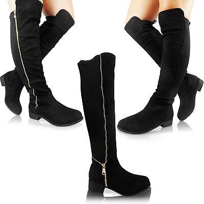 New Ladies Knee High Calf Over Boots Stretch Elasticated Low Heel Flat Wide Size Gutes Renommee Auf Der Ganzen Welt