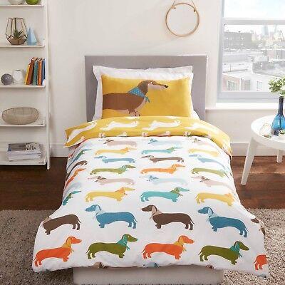 Rapport Dachshund Sausage Dog Novelty Reversible Duvet Cover Bedding Set