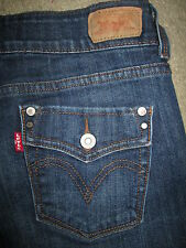 LEVIS 526 Slender Boot Flap Pkts Stretch Dark Blue Denim Jeans Women Sz 4 S x 29