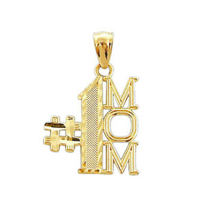 14k Yellow Real gold  solid #1 Mom mother Pendant Charm .60 grams