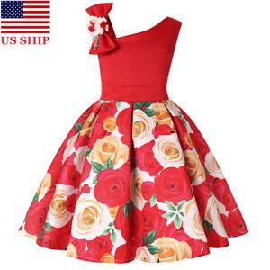 7c33ab8ae US! Kid Girls Christmas Strapless Rose Dress Ball Gown Birthday ...