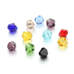 100pcs-mix-Color-Austrian-Crystal-Glass-Bicone-Jewellery-Making-Tiaras-4mm-BEADS