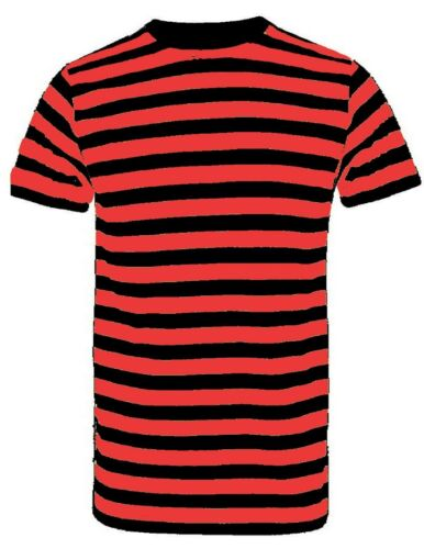 New Men/'s Boys Red And White Stripe Tshirt Top Black White Blue Shirts Book Week