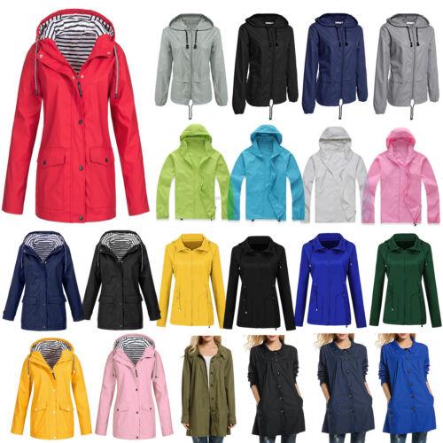 Plus Size Women Mens Long Sleeve Hooded Wind Jacket Outdoor Waterproof Rain Coat