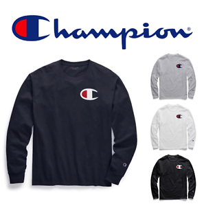 New Authentic Champion Men Jersey Big C Logo Long Sleeves T Shirt