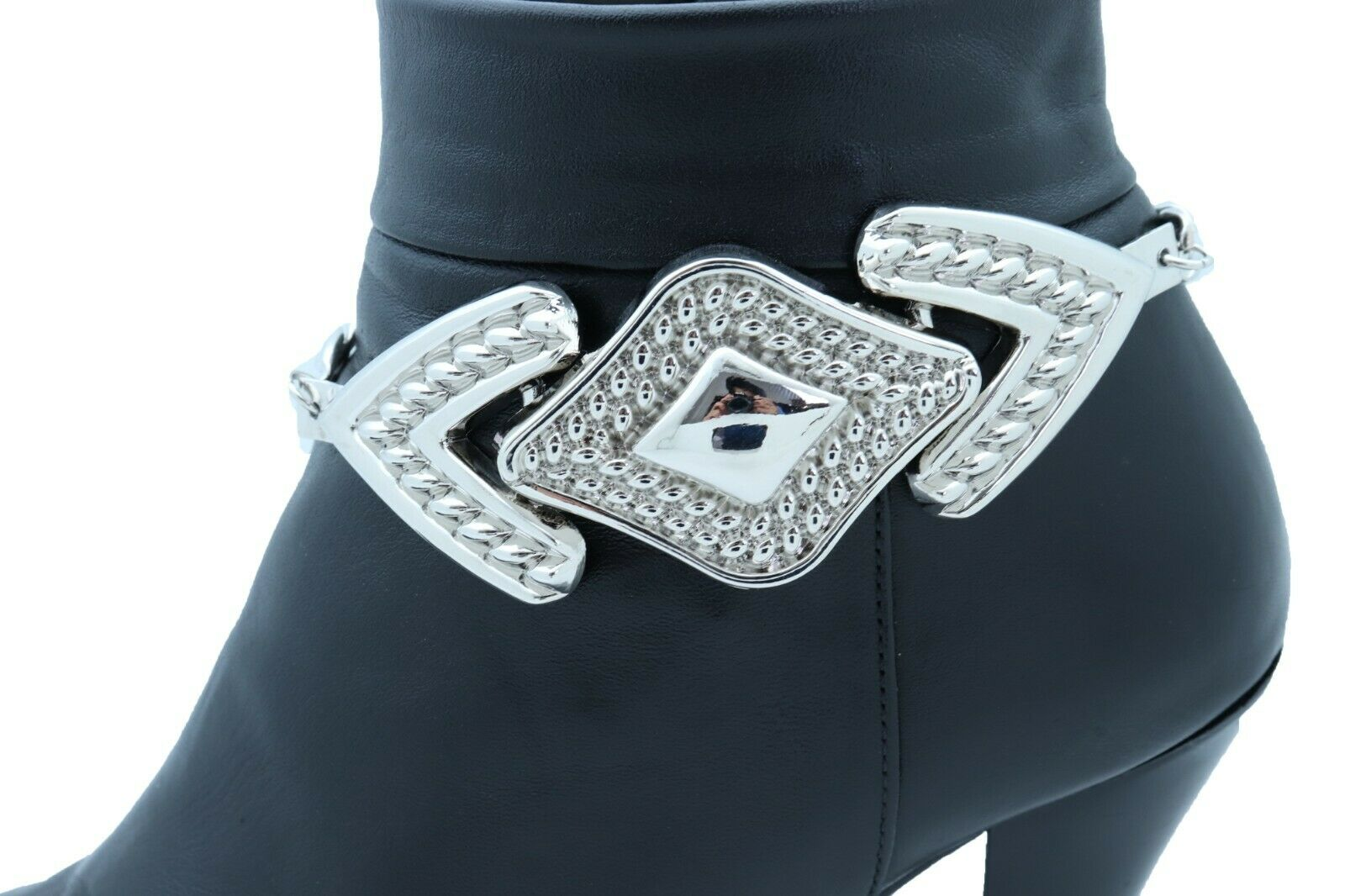 Women Silver Metal Chain Boot Bracelet Elegant Shoe Bling Retro Arrow Head Charm