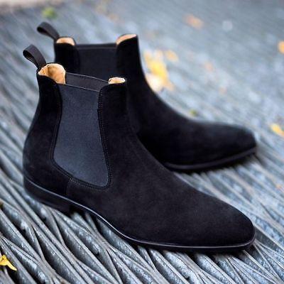 Handmade Men black Suede Chelsea boots