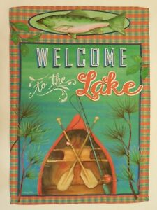 """12x18 Welcome Lake Canoe Chair Sleeved w// Garden Stand 12/""""x18/"""" Flag"""