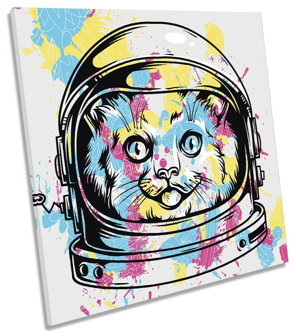 Cosmic Cat Kitten Astronaut Picture CANVAS WALL ART Square Print