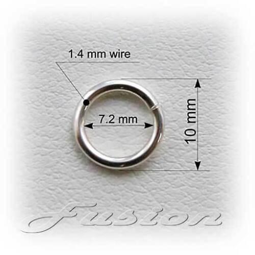 10 x forte Solide 925 Argent Sterling 10mm anneaux de saut lourd fil 1,4 mm