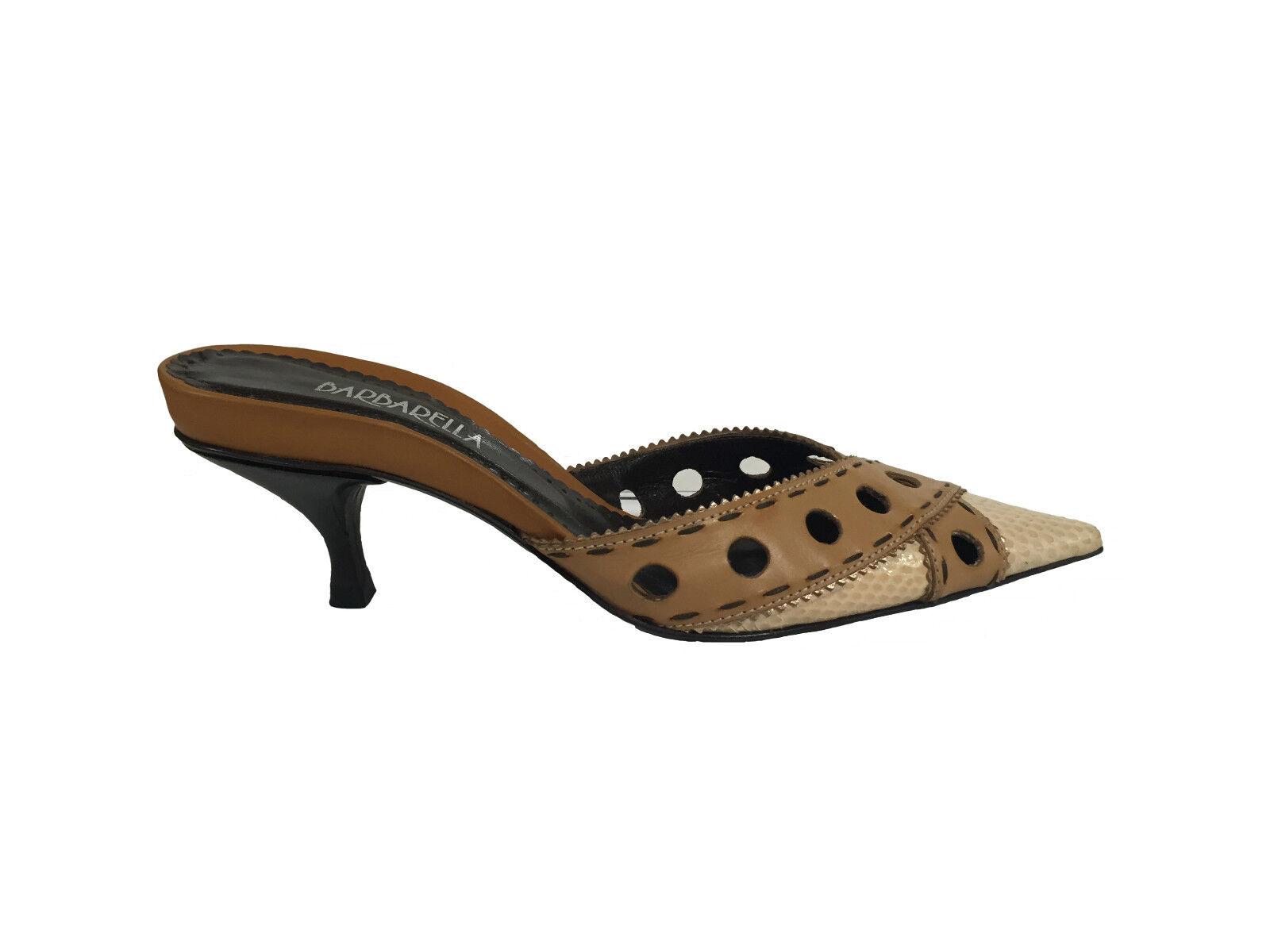 Barbarella chaussures Femme Sabot Pantoufles avec Pointe en Cuir Couleur Saumon