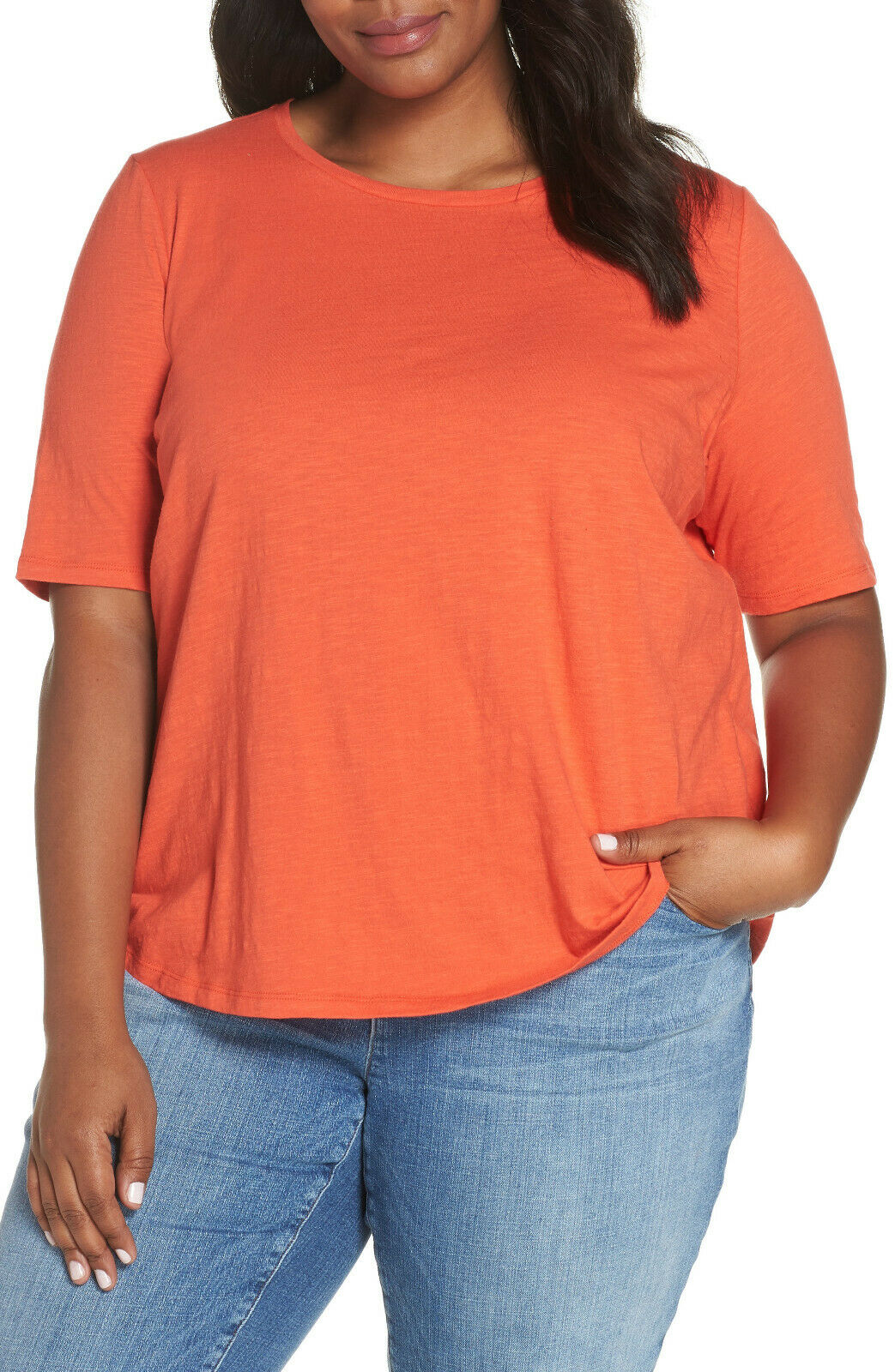 Eileen Fisher Plus rot Lory Slubby Organic Cotton Jersey Round Neck Tee Top