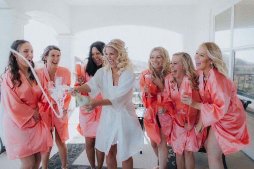 USA SELLER SILK Kimono Robes Bathrobe perfect for BRIDE BRIDESMAID S-XXL