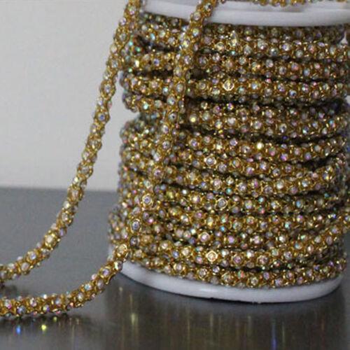 0.5m Rhinestone Chain Sparkle Diamante Crystal Trim Ribbon Sewing Crafts DIY New