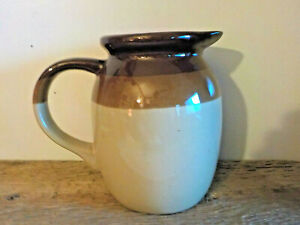 Vintage-Pottery-Pitcher-3-Tone-Brown-and-Tan-Glaze-6-034-Tall