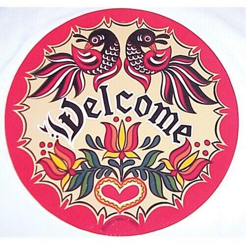 """16/"""" Welcome Distlefinks Conestoga Hex Sign design by Hexologist Ivan Hoyt"""