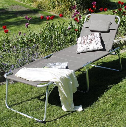 XXL-Alu-Sonnenliege Extra lang /& hoch gepolstert Klappliege Gartenliege