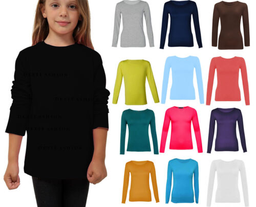 Ragazze Bambini Manica Lunga Girocollo Danza Tinta Unita Basic T-Shirt Top 2-13