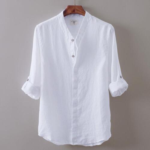 Mens White Tops Hot Cotton Linen Shirts V-neck Summer T-ShirtS Long Sleeve Vogue