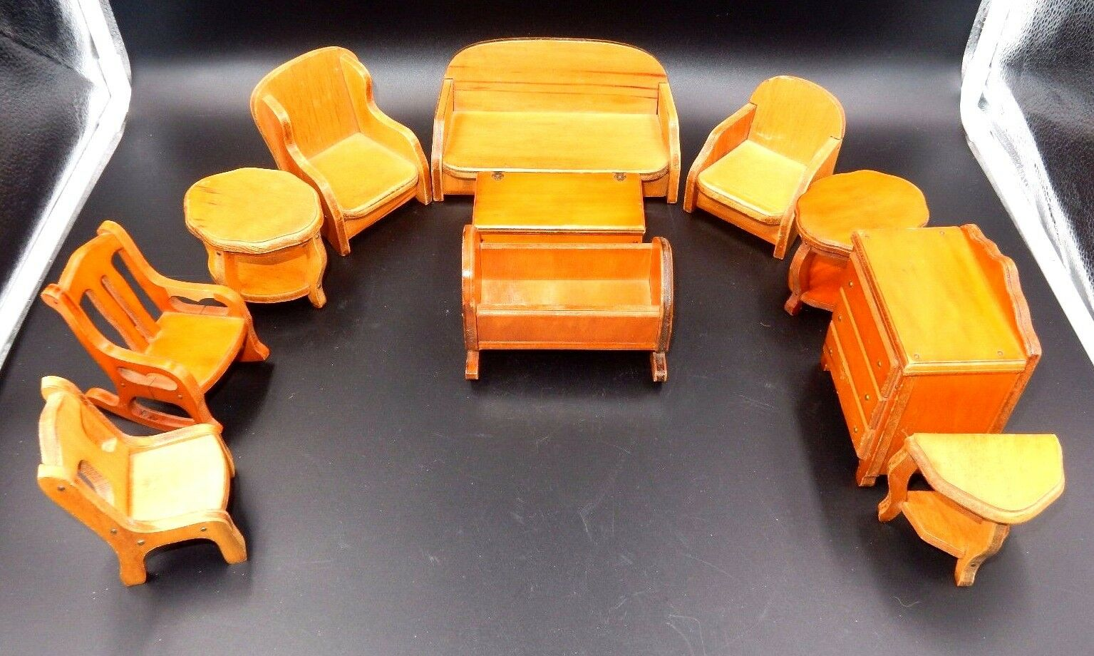 VINTAGE MINIATURE WOODEN FURNITURE SET OF 11, TABLES, CHAIRS, CRIB & MORE