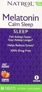 Natrol Melatonin Calm Sleep Fast Dissolve - Strawberry 6 mg 60 Tabs Sleep Aid